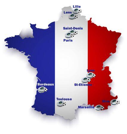 France soccer stadium map