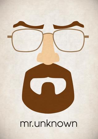 Mustache glasses eyebrows Illustration