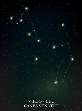 Virgo, Leo and Canes Venatici constellation Vector