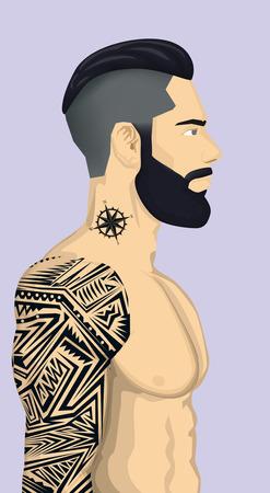 抽象的なタトゥーとトレンディーな流行に敏感な男性