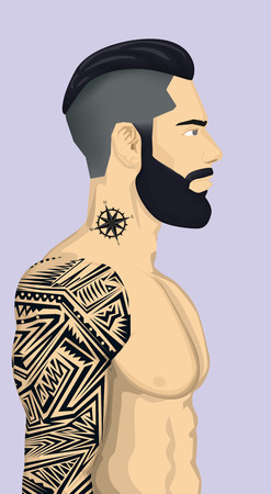 Trendy Hipster Men with abstract tattoo