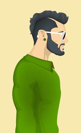 hombre con barba: De moda Hipster Hombres