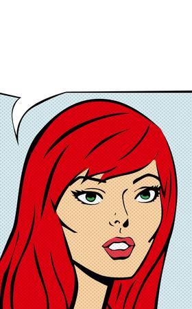 Retro comic girl with speech bubble Ilustração