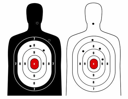 firing: Black and white human target