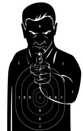 hombre disparando: Blanco humano Negro Vectores