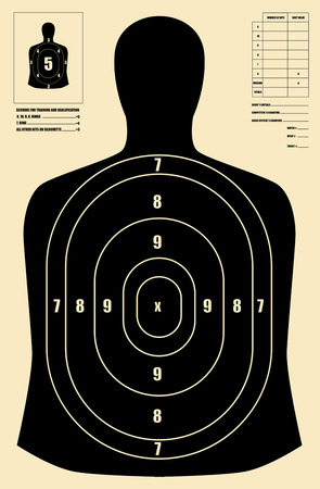 gun shot: Black human target Illustration