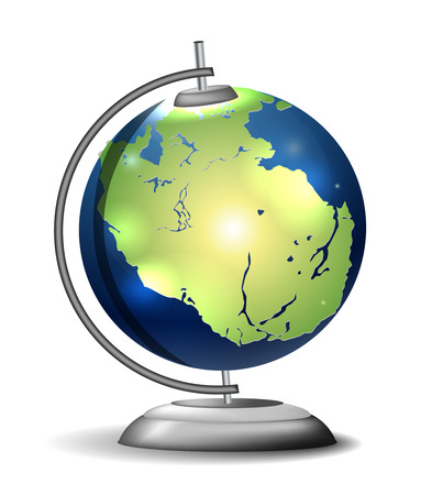subduction: Pangaea school globe Illustration