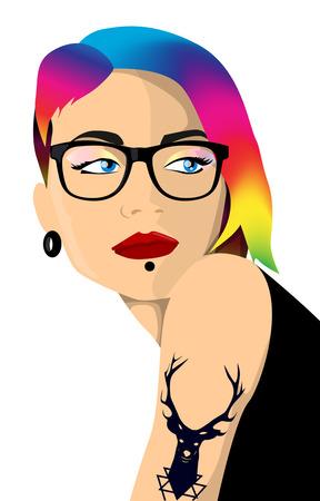 Cartoon hipster girl portrait with colorful hair Ilustração
