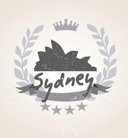 Grunge Sydney icon laurel weath Ilustração
