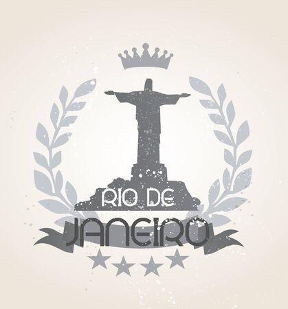 Grunge Rio de Janeiro icon laurel weath Ilustração