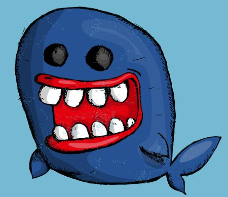 Cute cartoon whale Ilustração