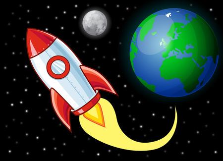 booster: Cartoon Rocket in space