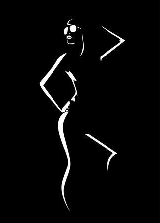 nudity: Girl contour on black Illustration