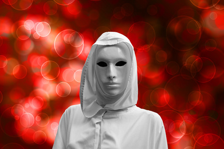 priestess of red magic, occult sorcerer with magical mask, bokeh background