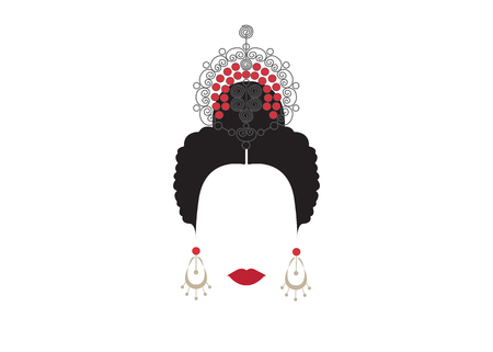 Portrait of modern Mexican or Spanish woman whit Craft accessories. Illustration
