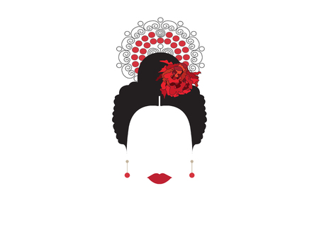 Portrait of modern Mexican or Spanish woman whit Craft accessories, Flamenco comb, Peinetas, transparent background