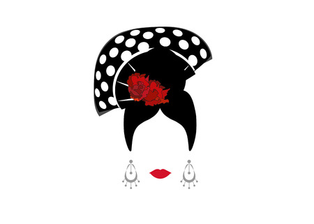 Portrait of modern Mexican or Spanish woman with Craft accessories, beauty concept.