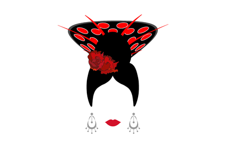 Portrait of modern Mexican or Spanish woman whit Craft accessories, beauty concept, logo Vector illustration transparent background