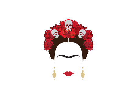 portrait of modern Mexican woman with skull and red flower, inspiration Santa Muerte in Mexico, vector illustration isolated
