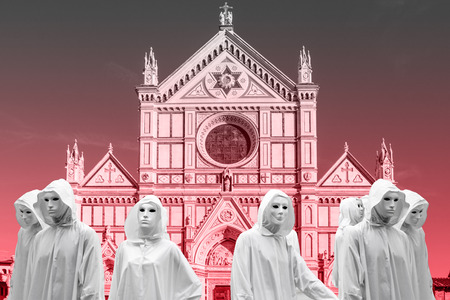 they celebrated priestess and sorcerers, magic ritual in the church Holy Cross from Florence, with magical white mask occult Masonic Lodge