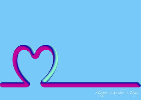 Skyline Happy Mothers Day, 3D fluorescent Illustration