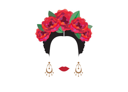 Portrait of modern Mexican or Spanish woman, With flower crowns, Vector transparent background Illustration