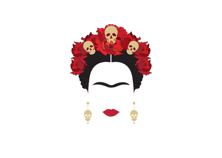 Portrait of modern Mexican woman with skulls and red flower, inspiration Santa Muerte in Mexico and Frida, vector illustration isolated Stock Illustratie