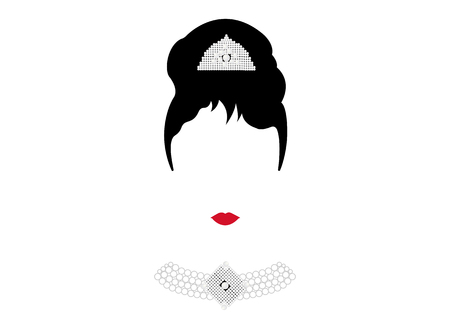Portrait Retro Woman, Diva with Pearl Jewelry, Minimal Audrey Vector Illustration
