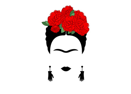 Portrait of Mexican or Spanish woman minimalist Frida with earrings and red flowers, vector isolated Illustration