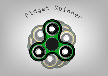 alloy: Fidget spinner icon - toy for stress relief and improvement of attention span. Filled with green and black color. Isolated vector illustration. Illustration