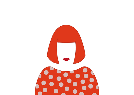 Portrait of woman with off, minimalist Yayoi Kusama Illustration