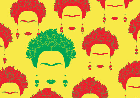 Background multicolors portrait of Mexican or Spanish woman, minimalist Frida with earrings skulls, vector isolated Çizim