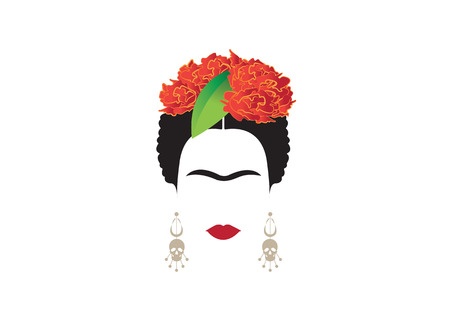 Portrait of modern Mexican woman with skull and red flower, inspiration Frida whit earrings skulls, vector illustration