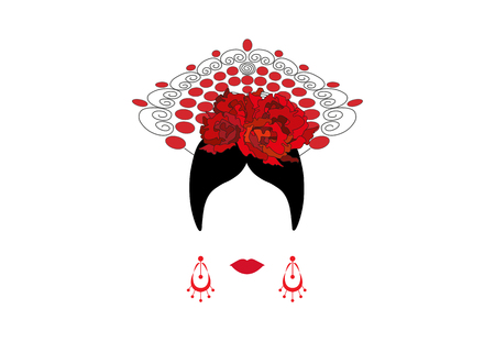 Portrait of modern Latin or Spanish woman, Lady with Craft accessories and red flower , Icon isolated, flamenco dancer, Vector illustration transparent background