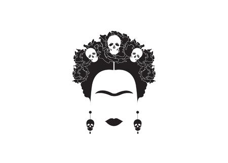 現代のメキシコ女性の肖像画  イラスト・ベクター素材