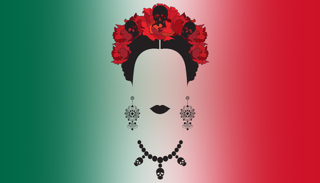 portrait of Mexican woman with skull necklace and red flowers , Mexican crafts earrings, rendering illustration and Mexican background flag Stok Fotoğraf