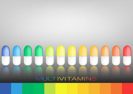 マルチ ビタミン ラベル インスピレーション、コンセプト コンセプト ビタミン錠剤分離ベクトル  イラスト・ベクター素材