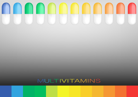 Multivitamin label inspiration, concept concept vitamins pills, vector isolated