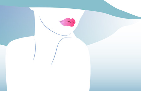 Beauty Concept, Natural Cosmetic, beauty salon, woman with hat and big lips, Vector illustration