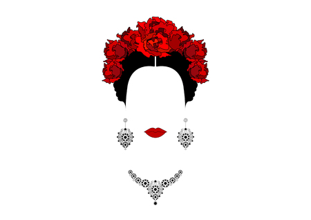 Portrait of Mexican or Spanish woman with crown of red flowers, earrings and necklace, vector isolated