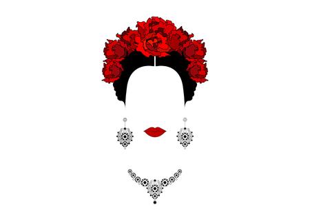Portret Meksykańska lub Hiszpańska kobieta z koroną czerwoni kwiaty, kolczyki i kolia, wektor odizolowywający