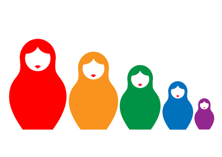 Russian nesting doll matrioshka, set colorful icon symbol of Russia, vector isolated