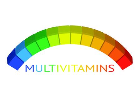 Multivitamine etiketinspiratie, de illustratie van het pictogramconcept. Stock Illustratie