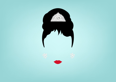minimalist portrait retro woman, with jewels, retro style hairstyle, vector isolated Illustration