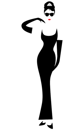 Minimal Audrey silhouette with black glasses, vector portrait isolated