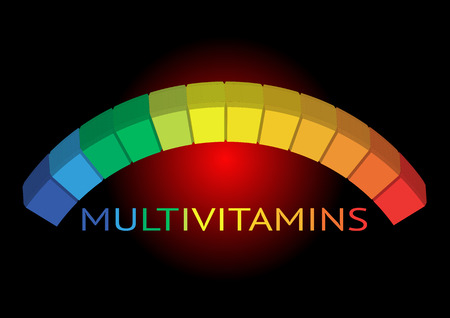 Multivitamin label inspiration icon Illustration