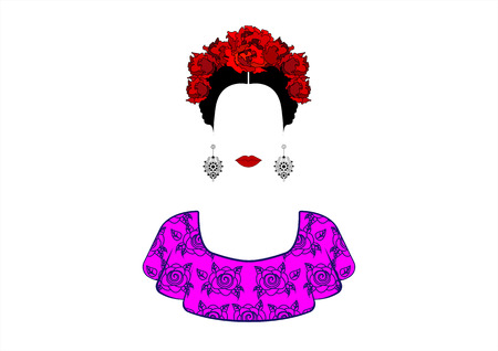 Portrait of young beautiful Mexican woman with a traditional hairstyle. Mexican Crafts Earrings, Crown Red Flowers, Traditional Mexican Catrina, Death's Day. Vector isolated