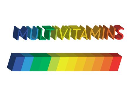 Multivitamin label inspiration icon , isolated Illustration