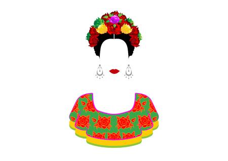 Portrait der jungen schönen mexikanischen Frau mit einer traditionellen Frisur. Mexikanische Handwerk Ohrringe, Krone aus Blumen und roten Blumen, traditionelle mexikanische Kleidung, Todestag. Vektor isoliert Vektorgrafik