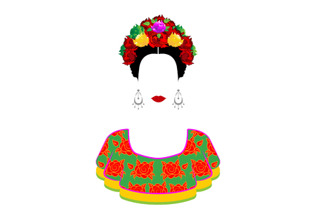 Portrait of the young beautiful mexican woman with a traditional hairstyle. Mexican crafts earrings, crown of flowers and red flowers, Traditional Mexican dress, death's day. Vector isolated Vettoriali